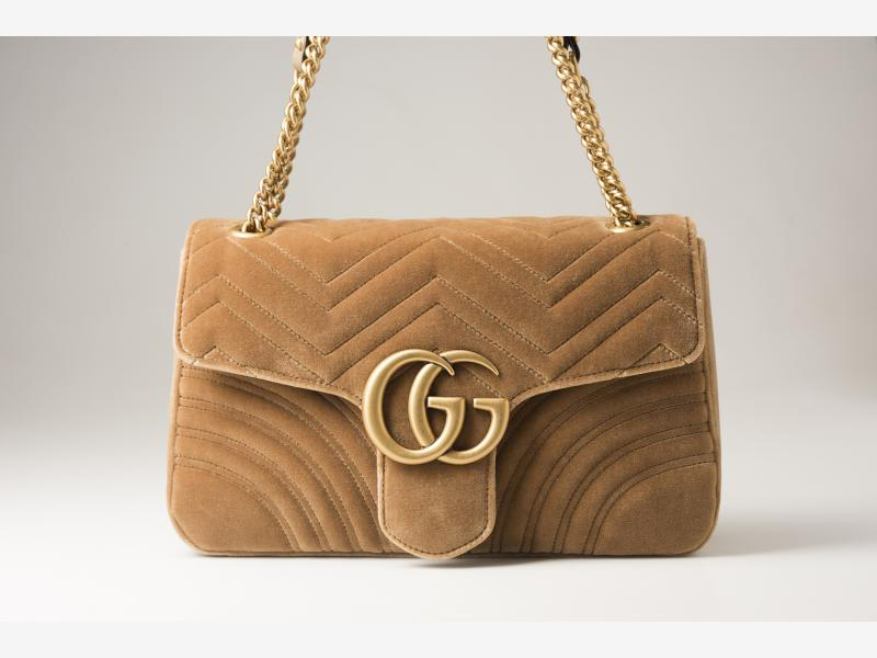83017bcbdc10 GUCCI GG Marmont velvet medium shoulder bag - taupe velvet - kama's ...